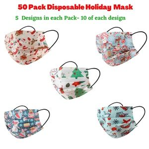 50 Pack Christmas Disposable Face Mask